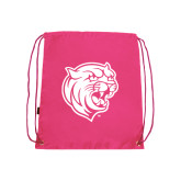 Pink Drawstring Backpack-Wildcat Head