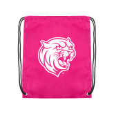 Pink Drawstring Backpack-Wildcat Head