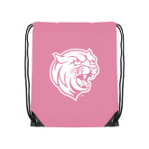 Light Pink Drawstring Backpack-Wildcat Head