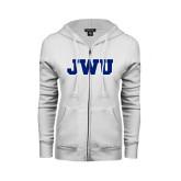 ENZA Ladies White Fleece Full Zip Hoodie-JWU