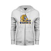 ENZA Ladies White Fleece Full Zip Hoodie-JWU Wildcats