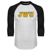 White/Black Raglan Baseball T Shirt-JWU