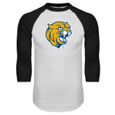 White/Black Raglan Baseball T Shirt-Wildcat Head