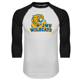 White/Black Raglan Baseball T Shirt-JWU Wildcats