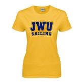 Ladies Gold T Shirt-JWU Sailing