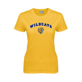 Ladies Gold T Shirt-Arched Wildcats