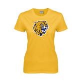 Ladies Gold T Shirt-Wildcat Head Distressed