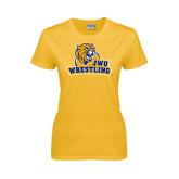 Ladies Gold T Shirt-Wrestling