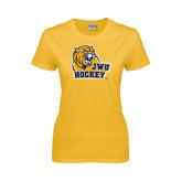 Ladies Gold T Shirt-Hockey