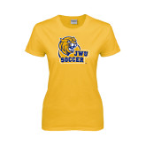 Ladies Gold T Shirt-Soccer