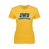 Ladies Gold T Shirt-JWU Equestrian