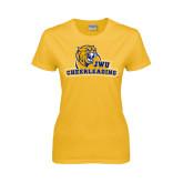 Ladies Gold T Shirt-Cheerleading