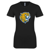 Next Level Ladies SoftStyle Junior Fitted Black Tee-Wildcat Head