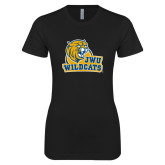 Next Level Ladies SoftStyle Junior Fitted Black Tee-JWU Wildcats