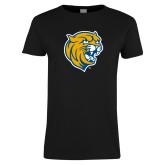 Ladies Black T Shirt-Wildcat Head