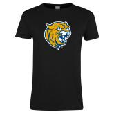 Ladies Black T Shirt-Wildcat Head Distressed