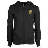 ENZA Ladies Black Fleece Full Zip Hoodie-Wildcat Head