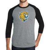 Grey/Black Tri Blend Baseball Raglan-Wildcat Head