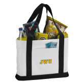 Contender White/Black Canvas Tote-JWU