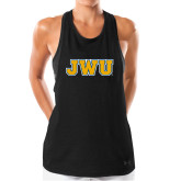 Ladies Under Armour Black Pinhole Tank-JWU