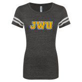 ENZA Ladies Black/White Vintage Football Tee-JWU