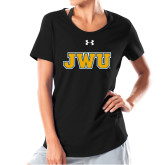 Ladies Under Armour Black Charged Cotton Tee-JWU