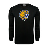 Black Long Sleeve TShirt-Wildcat Head Distressed