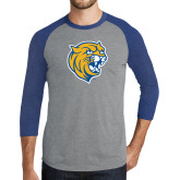 Grey/Royal Heather Tri Blend Baseball Raglan-Wildcat Head