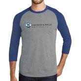 Grey/Royal Heather Tri Blend Baseball Raglan-University Mark
