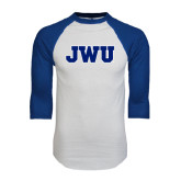 White/Royal Raglan Baseball T Shirt-JWU