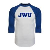 White/Royal Raglan Baseball T Shirt-JWU