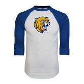 White/Royal Raglan Baseball T Shirt-Wildcat Head