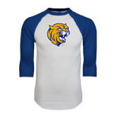 White/Royal Raglan Baseball T Shirt-Wildcat Head Distressed