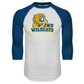 White/Royal Raglan Baseball T Shirt-JWU Wildcats