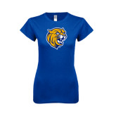 Next Level Ladies SoftStyle Junior Fitted Royal Tee-Wildcat Head
