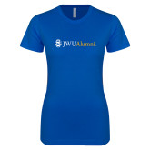 Next Level Ladies SoftStyle Junior Fitted Royal Tee-JWU Alumni