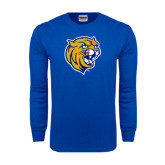 Royal Long Sleeve T Shirt-Wildcat Head Distressed