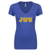 Next Level Ladies Vintage Royal Tri Blend V Neck Tee-JWU