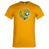 Gold T Shirt-Wildcat Head Distressed