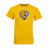 Gold T Shirt-Wildcat Head Distressed