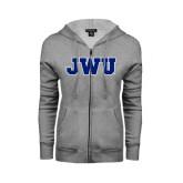 ENZA Ladies Grey Fleece Full Zip Hoodie-JWU