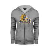 ENZA Ladies Grey Fleece Full Zip Hoodie-JWU Wildcats