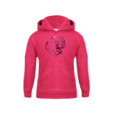 Youth Raspberry Fleece Hoodie-Wildcat Head Foil