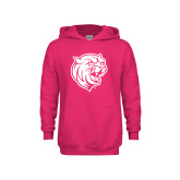 Youth Raspberry Fleece Hoodie-Wildcat Head