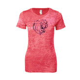 Next Level Ladies Junior Fit Fuchsia Burnout Tee-Wildcat Head Foil