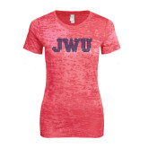 Next Level Ladies Junior Fit Fuchsia Burnout Tee-Rhinestone JWU