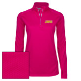 Ladies Pink Raspberry Sport Wick Textured 1/4 Zip Pullover-JWU
