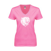 Next Level Ladies Junior Fit Ideal V Pink Tee-Wildcat Head