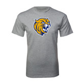 Grey T Shirt-Wildcat Head Distressed
