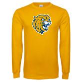 Gold Long Sleeve T Shirt-Wildcat Head